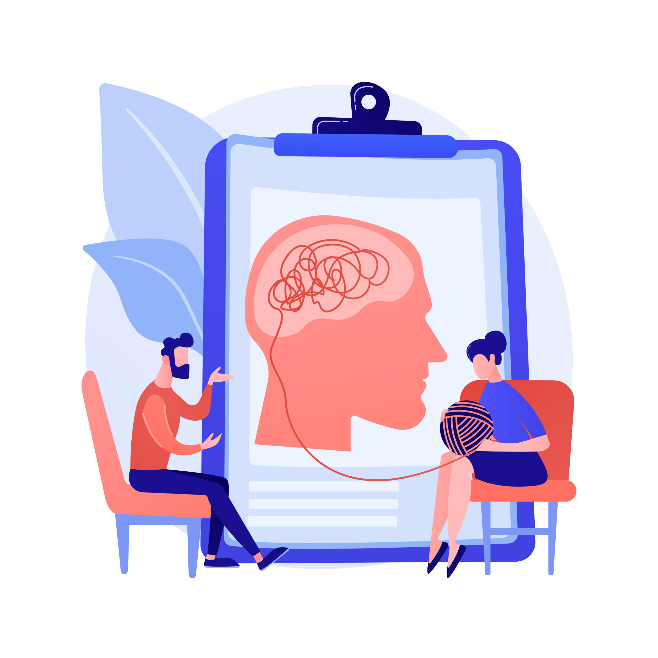 Psychotherapy abstract concept vector illustration. Non pharmacological intervention, verbal counseling, psychotherapy service, behavioral cognitive therapy, private session abstract metaphor.